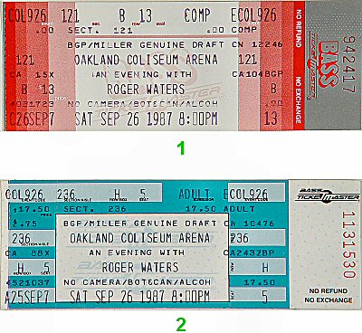 Roger Waters 1980s Ticket from Oakland Coliseum Arena on 26 Sep 87: Ticket Two