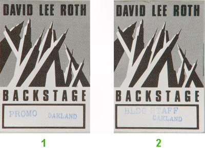 David Lee Roth Backstage Pass from Oakland Coliseum Arena on 27 May 88: Pass 2