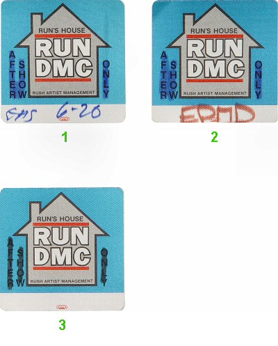 RUN-D.M.C. Backstage Pass from Oakland Coliseum Arena on 26 Jun 88: Pass 2