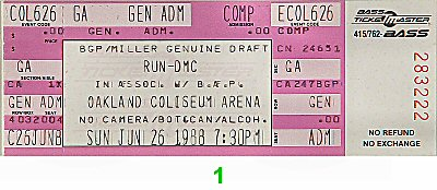 RUN-D.M.C. 1980s Ticket from Oakland Coliseum Arena on 26 Jun 88: Ticket One