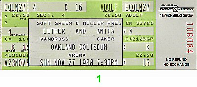 Luther Vandross 1980s Ticket from Oakland Coliseum Arena on 27 Nov 88: Ticket One