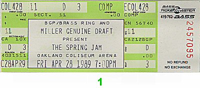 Guy 1980s Ticket from Oakland Coliseum Arena on 28 Apr 89: Ticket One
