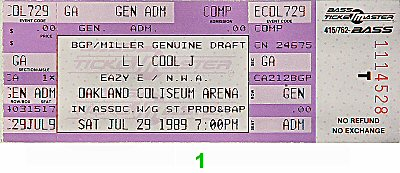LL Cool J 1980s Ticket from Oakland Coliseum Arena on 29 Jul 89: Ticket One