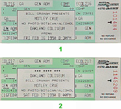 Motley Crue 1990s Ticket from Oakland Coliseum Arena on 16 Feb 90: Ticket One