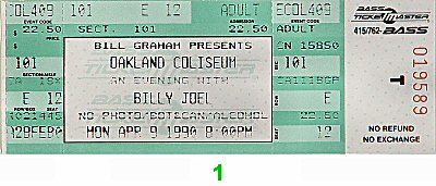 Billy Joel 1990s Ticket from Oakland Coliseum Arena on 09 Apr 90: Ticket One