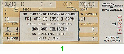Billy Joel 1990s Ticket from Oakland Coliseum Arena on 13 Apr 90: Ticket One