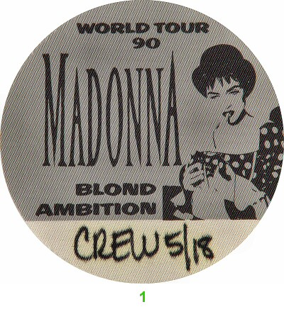 Madonna Backstage Pass from Oakland Coliseum Arena on 18 May 90: Pass 1