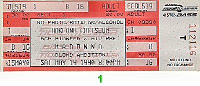 Madonna 1990s Ticket from Oakland Coliseum Arena on 19 May 90: Ticket One