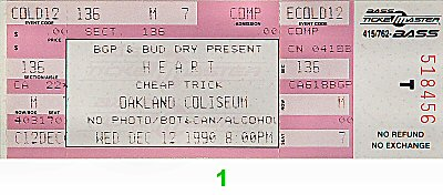 Heart 1990s Ticket from Oakland Coliseum Arena on 12 Dec 90: Ticket One
