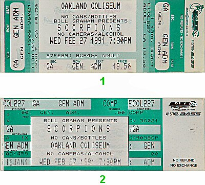 Scorpions 1990s Ticket from Oakland Coliseum Arena on 27 Feb 91: Ticket One