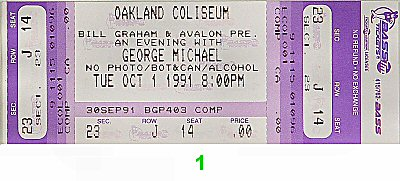 George Michael 1990s Ticket from Oakland Coliseum Arena on 01 Oct 91: Ticket One