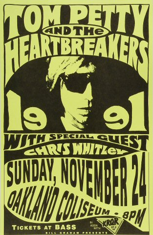 "Tom Petty & the Heartbreakers Poster from Oakland Coliseum Arena on 24 Nov 91: 11"" x 17"""