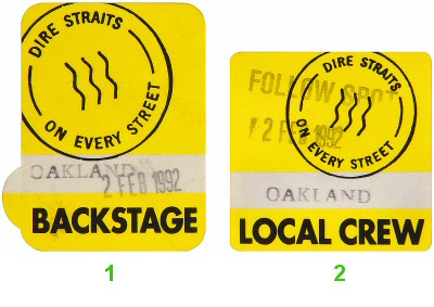 Dire Straits Backstage Pass from Oakland Coliseum Arena on 02 Feb 92: Pass 1