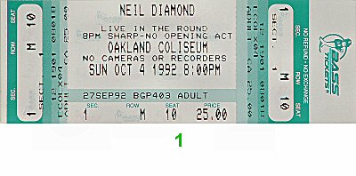 Neil Diamond 1990s Ticket from Oakland Coliseum Arena on 04 Oct 92: Ticket One