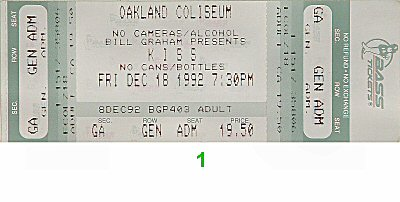 Kiss 1990s Ticket from Oakland Coliseum Arena on 18 Dec 92: Ticket One