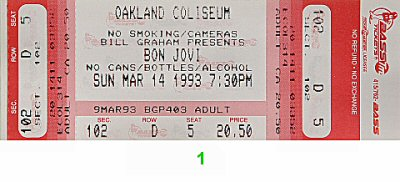 Bon Jovi 1990s Ticket from Oakland Coliseum Arena on 14 Mar 93: Ticket One