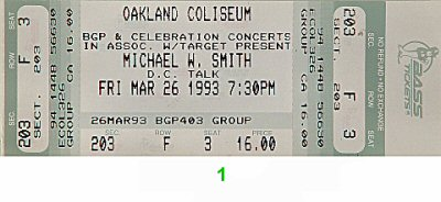 Michael W. Smith 1990s Ticket from Oakland Coliseum Arena on 26 Mar 93: Ticket One