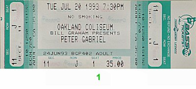 Peter Gabriel 1990s Ticket from Oakland Coliseum Arena on 20 Jul 93: Ticket One