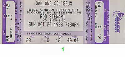 Rod Stewart 1990s Ticket from Oakland Coliseum Arena on 24 Oct 93: Ticket One