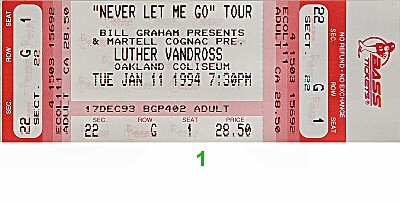 Luther Vandross 1990s Ticket from Oakland Coliseum Arena on 11 Jan 94: Ticket One