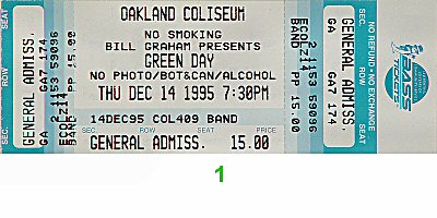 Green Day 1990s Ticket from Oakland Coliseum Arena on 14 Dec 95: Ticket One