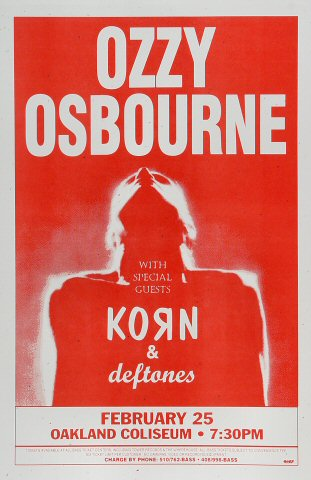 Ozzy Osbourne Poster from Oakland Coliseum Arena on 25 Feb 96: 11&quot; x 17&quot;