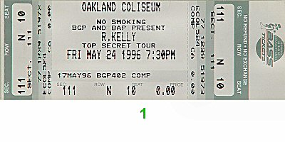 R. Kelly 1990s Ticket from Oakland Coliseum Arena on 24 May 96: Ticket One