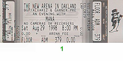 Mana 1990s Ticket from Oakland Coliseum Arena on 29 Aug 98: Ticket One