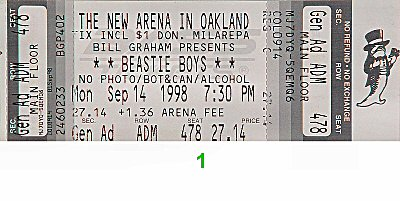 Beastie Boys 1990s Ticket from Oakland Coliseum Arena on 14 Sep 98: Ticket One