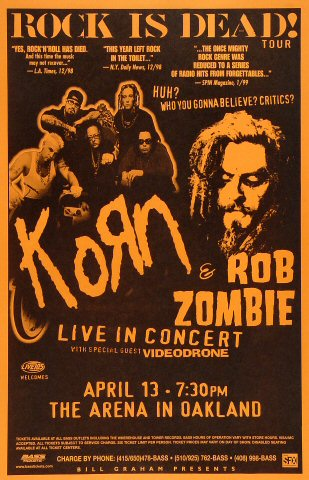 Korn Poster from Oakland Coliseum Arena on 13 Apr 99: 11&quot; x 17&quot;