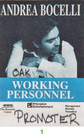 Andrea Bocelli Backstage Pass from Oakland Coliseum Arena on 17 Apr 99: Pass 1