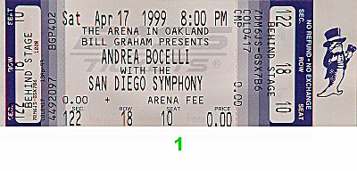 Andrea Bocelli 1990s Ticket from Oakland Coliseum Arena on 17 Apr 99: Ticket One
