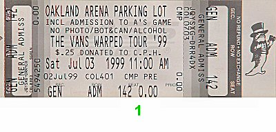 Pennywise 1990s Ticket from Oakland Coliseum Arena on 03 Jul 99: Ticket One