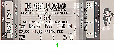 *NSYNC 1990s Ticket from Oakland Coliseum Arena on 29 Nov 99: Ticket One