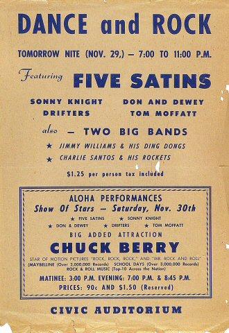 "Five Satins Handbill from Old Civic Auditorium on 29 Nov 57: 8 1/4"" x 12"""
