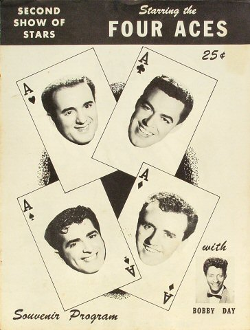 "Four Aces Program from Old Civic Auditorium on 17 Jan 58: 8 1/4"" x 10 7/8"""