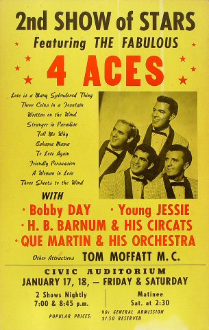 "Four Aces Poster from Old Civic Auditorium on 17 Jan 58: 14 1/8"" x 22 1/8"""