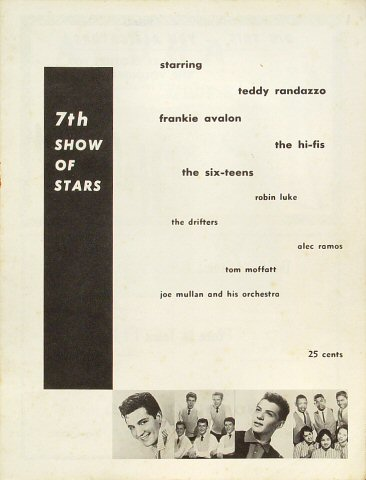 "Teddy Randazzo Program from Old Civic Auditorium on 20 Jun 58: 8"" x 10 1/2"""