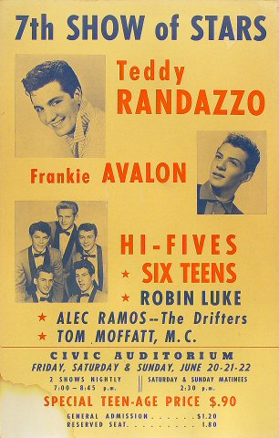 """Teddy Randazzo Poster from Old Civic Auditorium on 20 Jun 58: 14 1/8"""" x 22 1/8"""""""