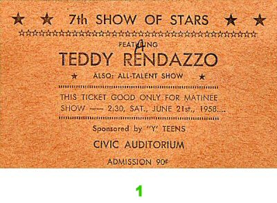 Teddy Randazzo Pre 1960s Ticket from Old Civic Auditorium on 20 Jun 58: Ticket One