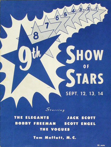 "The Elegants Program from Old Civic Auditorium on 12 Sep 58: 8"" x 10 1/2"""