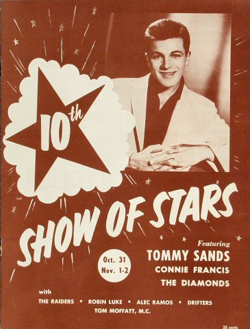 "Tommy Sands Program from Old Civic Auditorium on 31 Oct 58: 8"" x 10 1/2"""