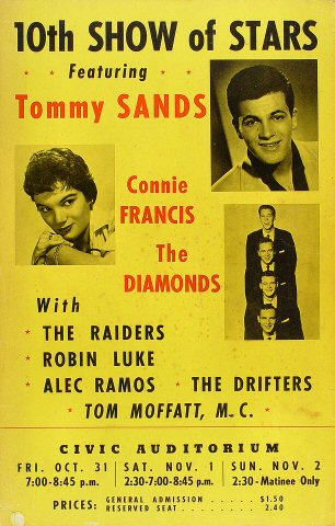 "Tommy Sands Poster from Old Civic Auditorium on 31 Oct 58: 14 1/8"" x 22 1/8"""