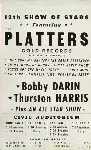 """The Platters Handbill from Old Civic Auditorium on 01 Jan 59: 8 1/2"""" x 14"""""""
