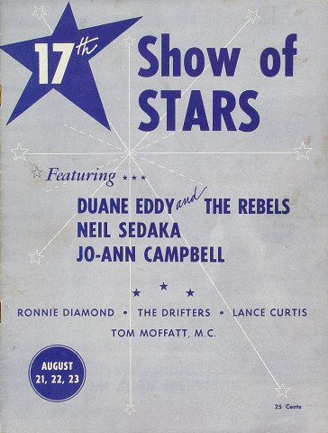 "Duane Eddy Program from Old Civic Auditorium on 21 Aug 59: 8"" x 10 5/8"""