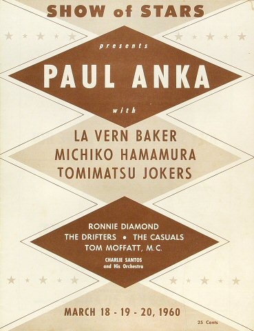 "Paul Anka Program from Old Civic Auditorium on 18 Mar 60: 8"" x 10 5/8"""