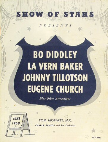 "Bo Diddley Program from Old Civic Auditorium on 09 Jun 60: 8"" x 10 5/8"""