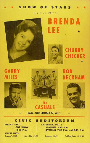 "Chubby Checker Poster from Old Civic Auditorium on 02 Dec 60: 14 1/8"" x 22 1/8"""