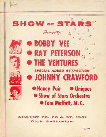 "Bobby Vee Program from Old Civic Auditorium on 25 Aug 61: 8"" x 10 5/8"""