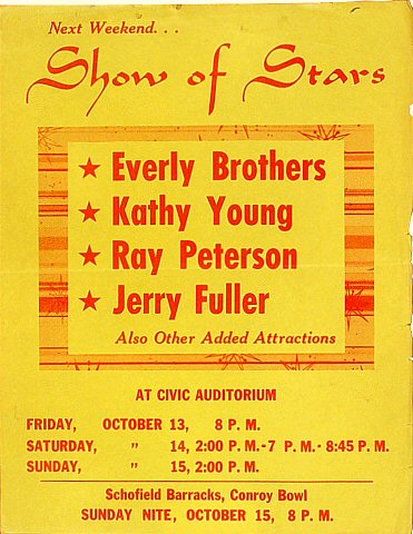 Everly Brothers Handbill from Old Civic Auditorium on 13 Oct 61: 8 1/2&quot; x 11&quot;